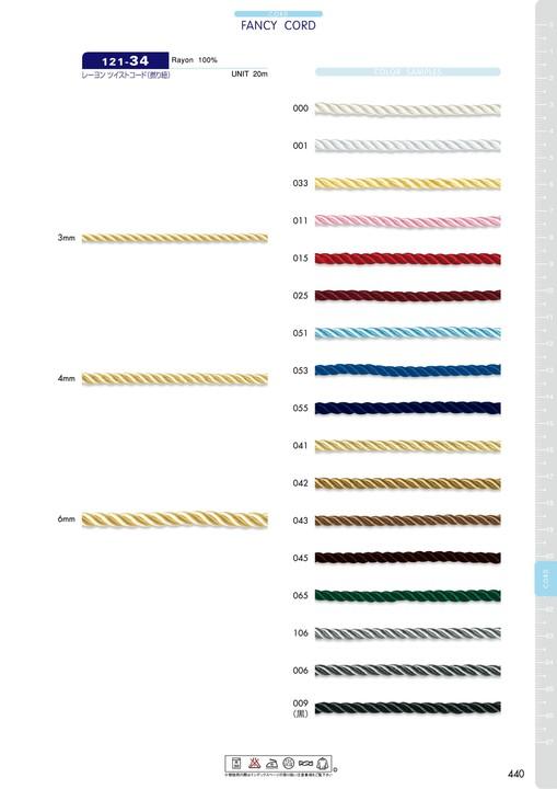 121-34 レーヨン ツイストコード(撚り紐)[リボン・テープ・コード] DARIN(ダリン)/オークラ商事 - ApparelX アパレル資材卸通販