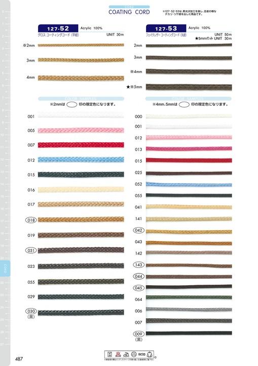 127-53 フェイクレザーコーティングコード(丸紐)[リボン・テープ・コード] DARIN(ダリン)/オークラ商事 - ApparelX アパレル資材卸通販