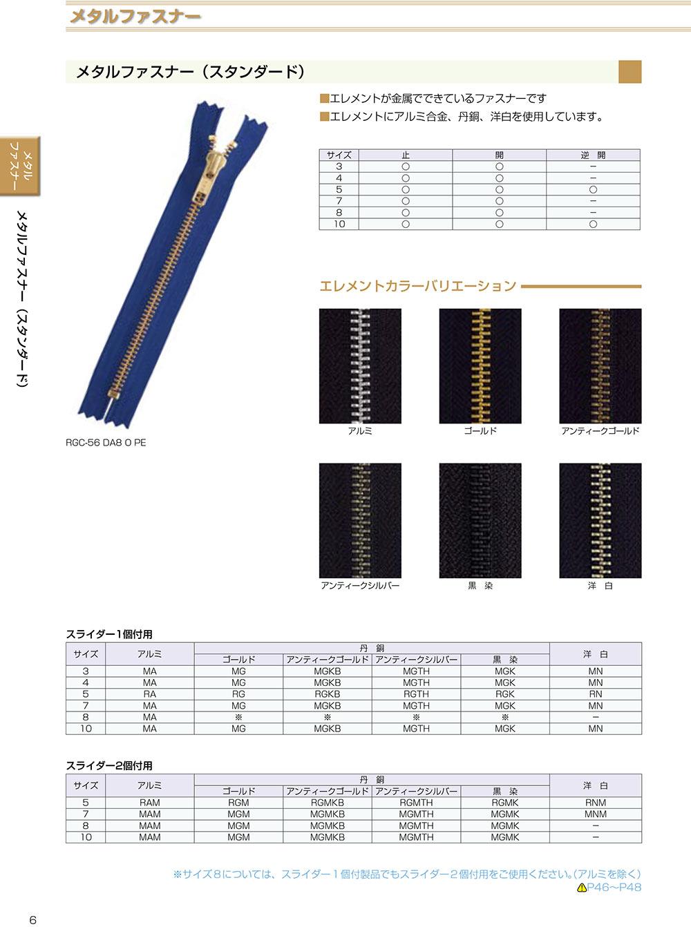 3MGC YKKメタルファスナー 3サイズ ゴールド 止め YKK/オークラ商事 - ApparelX アパレル資材卸通販