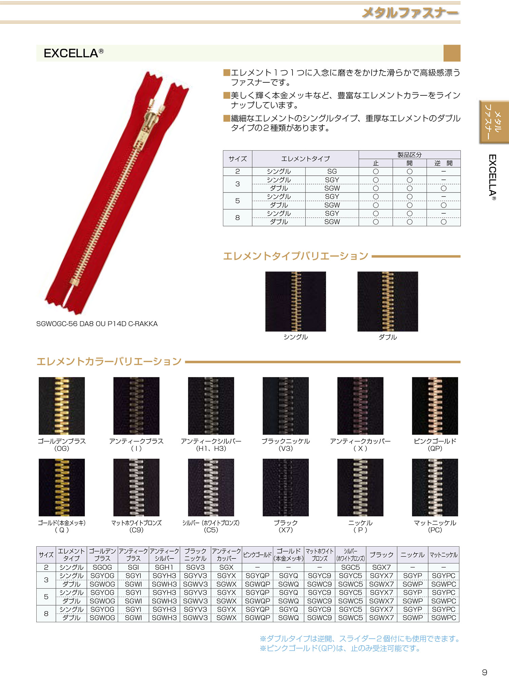 3SGWV3MR エクセラ 3サイズ ブラックニッケル 逆開 ダブル[ファスナー] YKK/オークラ商事 - ApparelX アパレル資材卸通販