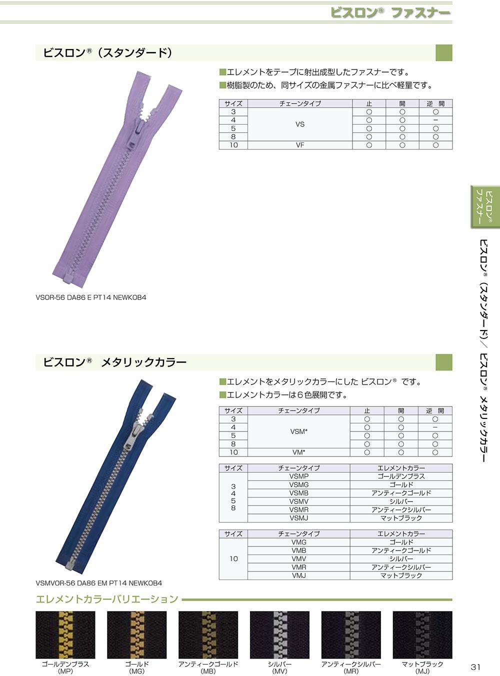 3VSC YKKビスロンファスナー 3サイズ 止め YKK/オークラ商事 - ApparelX アパレル資材卸通販
