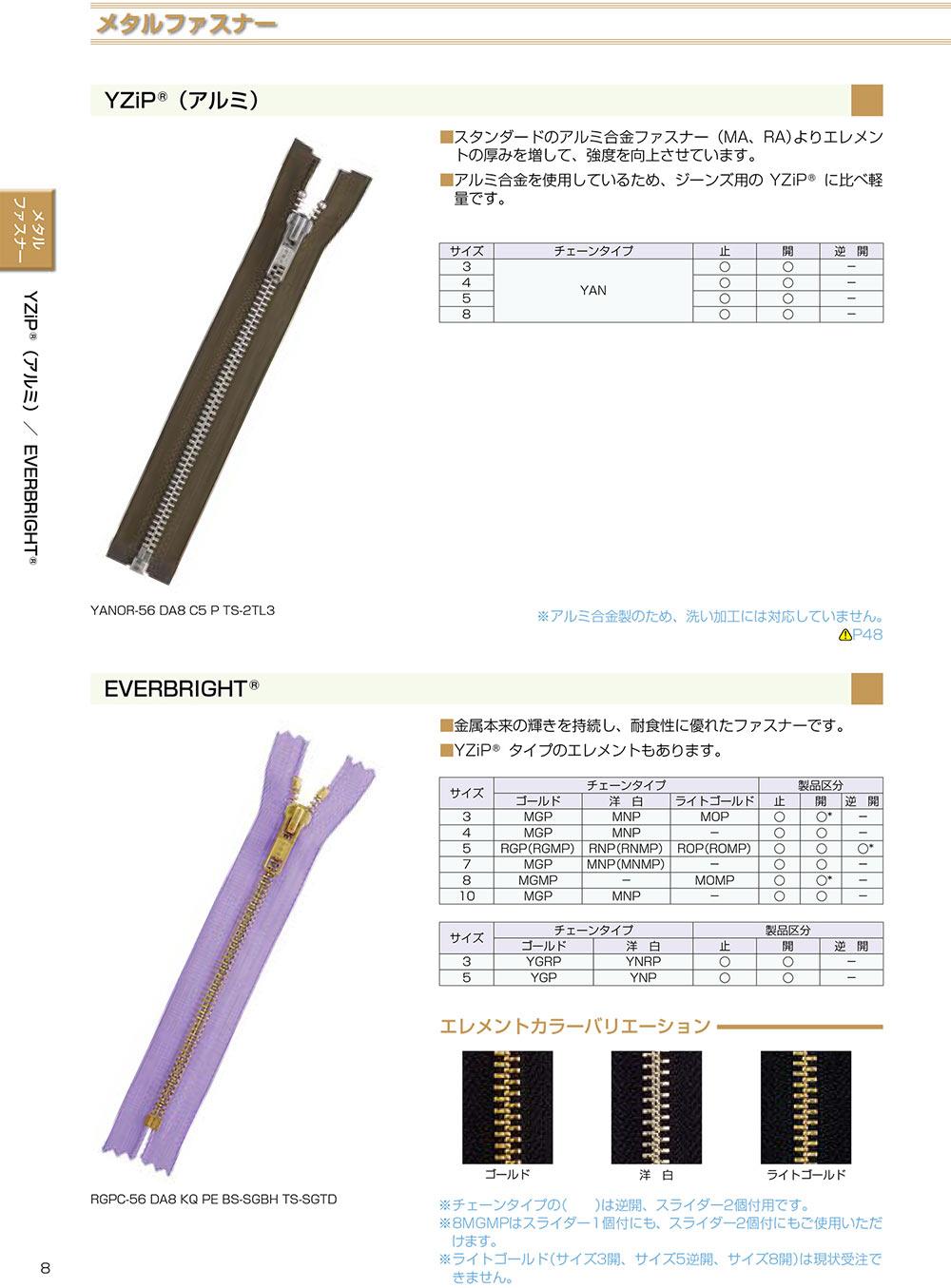 3YANC YKK YZIPワイジップ(アルミ)3サイズ クローズ[ファスナー] YKK/オークラ商事 - ApparelX アパレル資材卸通販