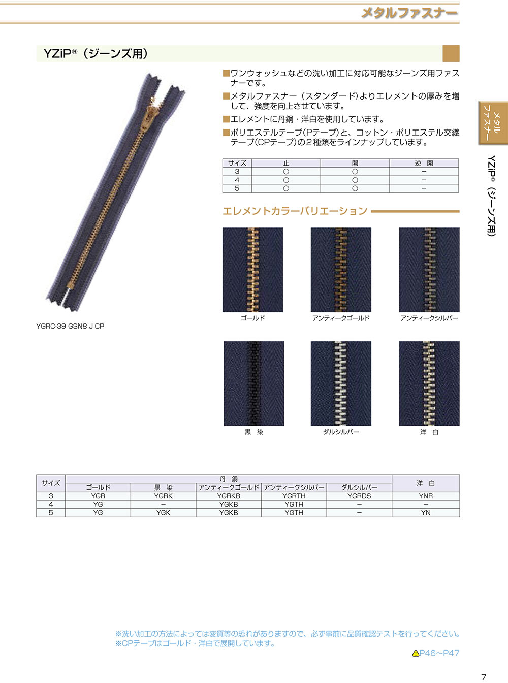 3YGRC YKK YZIPワイジップ(ジーンズ用)3サイズ ゴールド クローズ[ファスナー] YKK/オークラ商事 - ApparelX アパレル資材卸通販