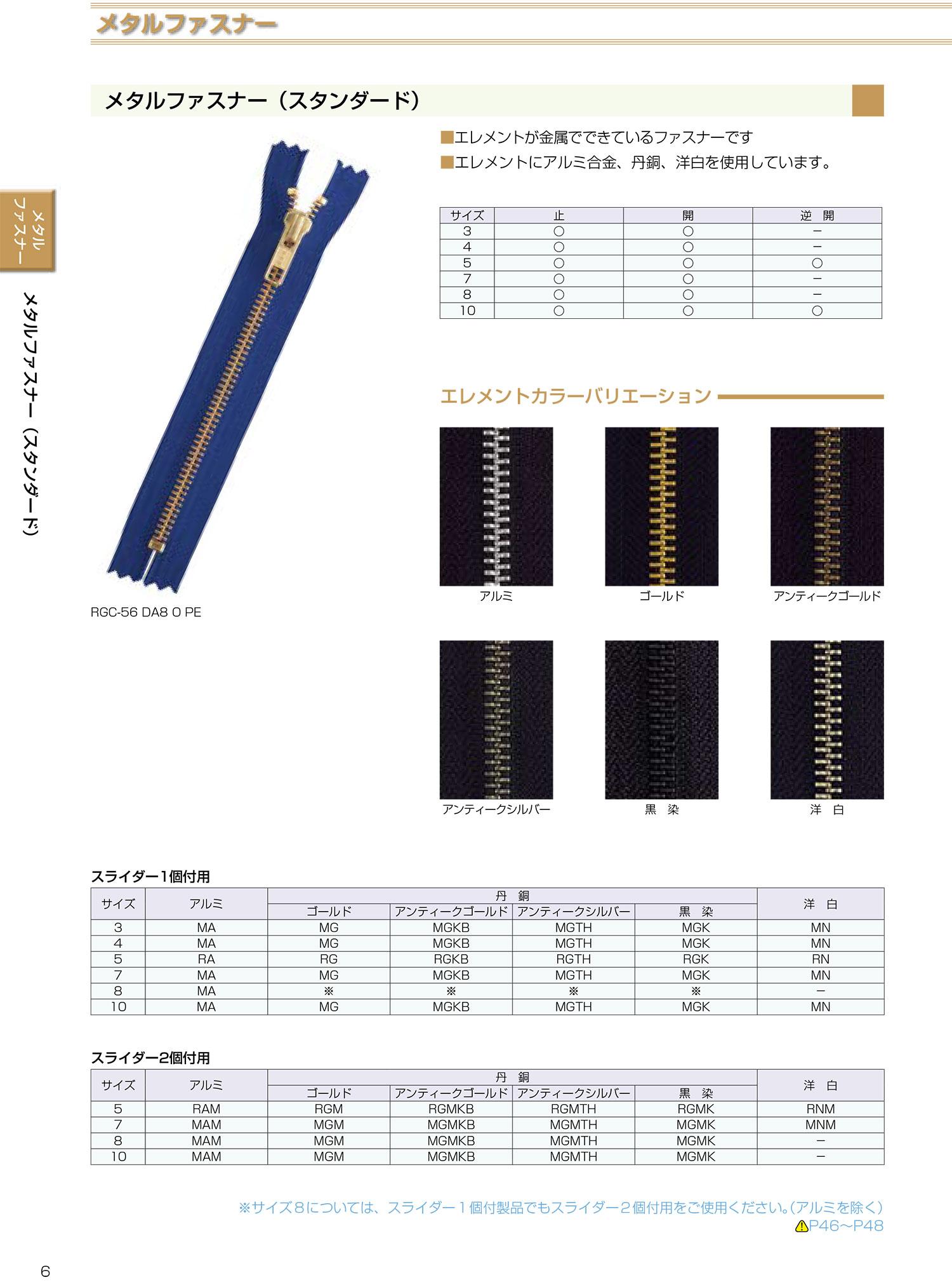 5RGC YKKメタルファスナー 5サイズ ゴールド 止め YKK/オークラ商事 - ApparelX アパレル資材卸通販