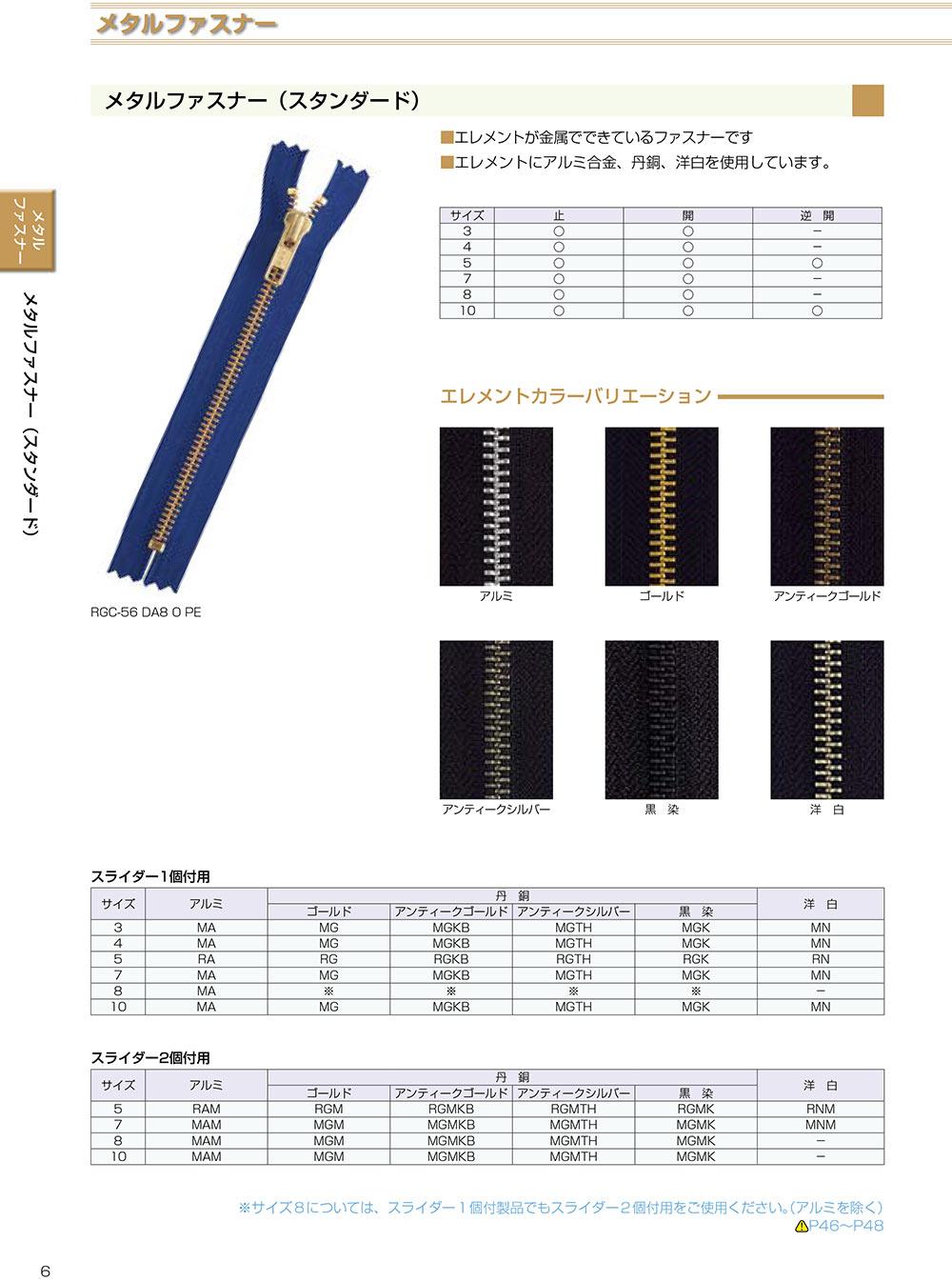 5RNMMR YKKメタルファスナー 5サイズ 洋白 逆開 YKK/オークラ商事 - ApparelX アパレル資材卸通販