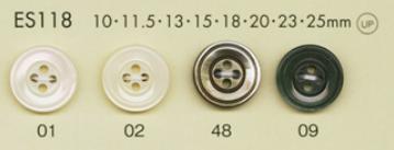 ES118 DAIYA BUTTONS 貝調ポリエステルボタン 大阪プラスチック工業(DAIYA BUTTON)/オークラ商事 - ApparelX アパレル資材卸通販