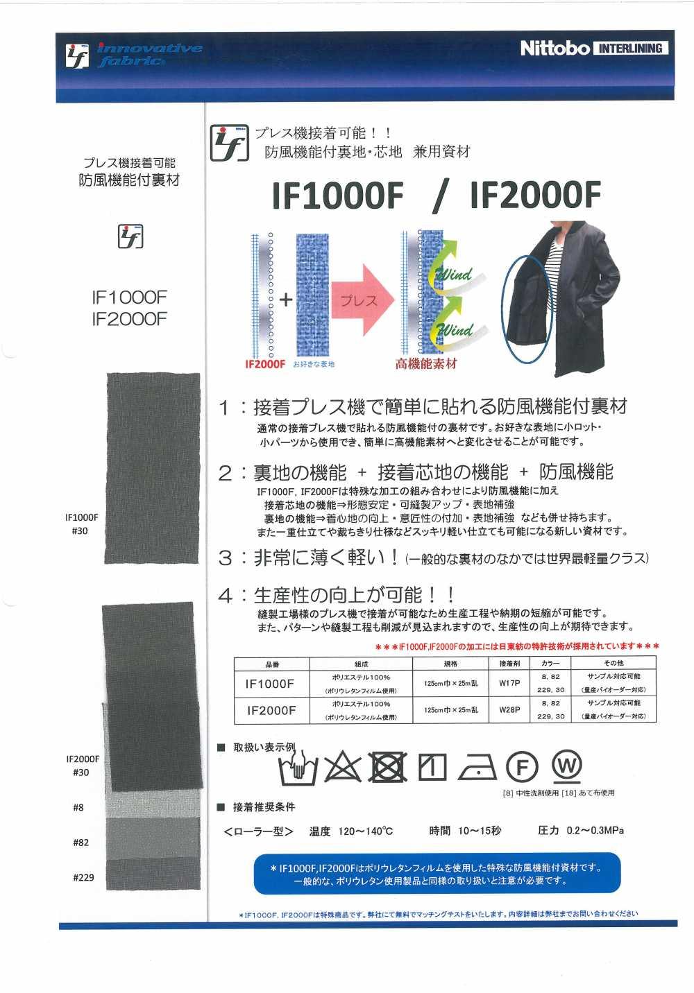 IF1000F 防風機能付裏地・芯地 兼用資材 日東紡インターライニング/オークラ商事 - ApparelX アパレル資材卸通販