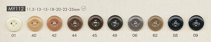 MY112 シンプル 上品 シャツ・ブラウス用 4つ穴 ポリエステルボタン 大阪プラスチック工業(DAIYA BUTTON)/オークラ商事 - ApparelX アパレル資材卸通販