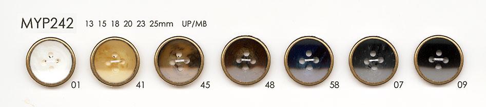 MYP242 上品 アンティークゴールド 4つ穴 ポリエステル ボタン 大阪プラスチック工業(DAIYA BUTTON)/オークラ商事 - ApparelX アパレル資材卸通販