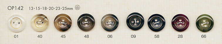 OP142 上品 水牛調 4つ穴 ポリエステル ボタン 大阪プラスチック工業(DAIYA BUTTON)/オークラ商事 - ApparelX アパレル資材卸通販