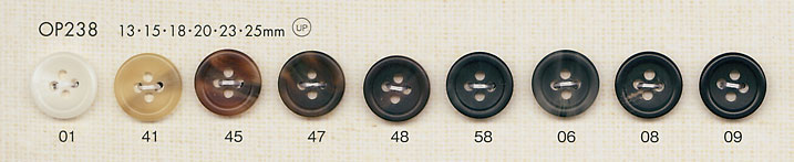 OP238 水牛調 艶消し 4つ穴 ポリエステル ボタン 大阪プラスチック工業(DAIYA BUTTON)/オークラ商事 - ApparelX アパレル資材卸通販
