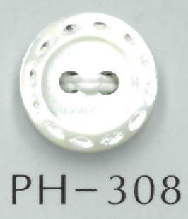 PH308 2穴ステッチ風刻印入り貝ボタン オークラ商事 - ApparelX アパレル資材卸通販