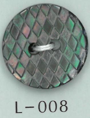 L-008 2穴ダイヤ刻印貝ボタン 阪本才治商店/オークラ商事 - ApparelX アパレル資材卸通販