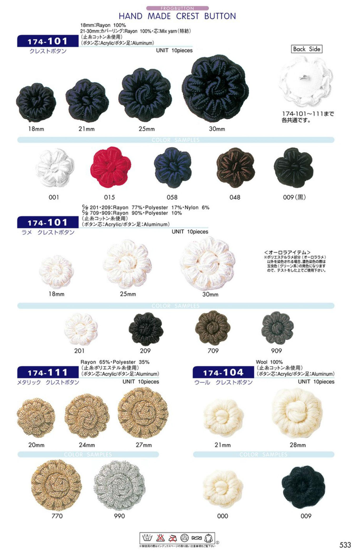 174-101 クレスト ボタン DARIN(ダリン)/オークラ商事 - ApparelX アパレル資材卸通販