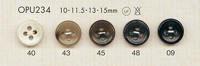 OPU234 4つ穴 シャツ・ブラウス用 ポリエステルボタン 大阪プラスチック工業(DAIYA BUTTON)/オークラ商事 - ApparelX アパレル資材卸通販