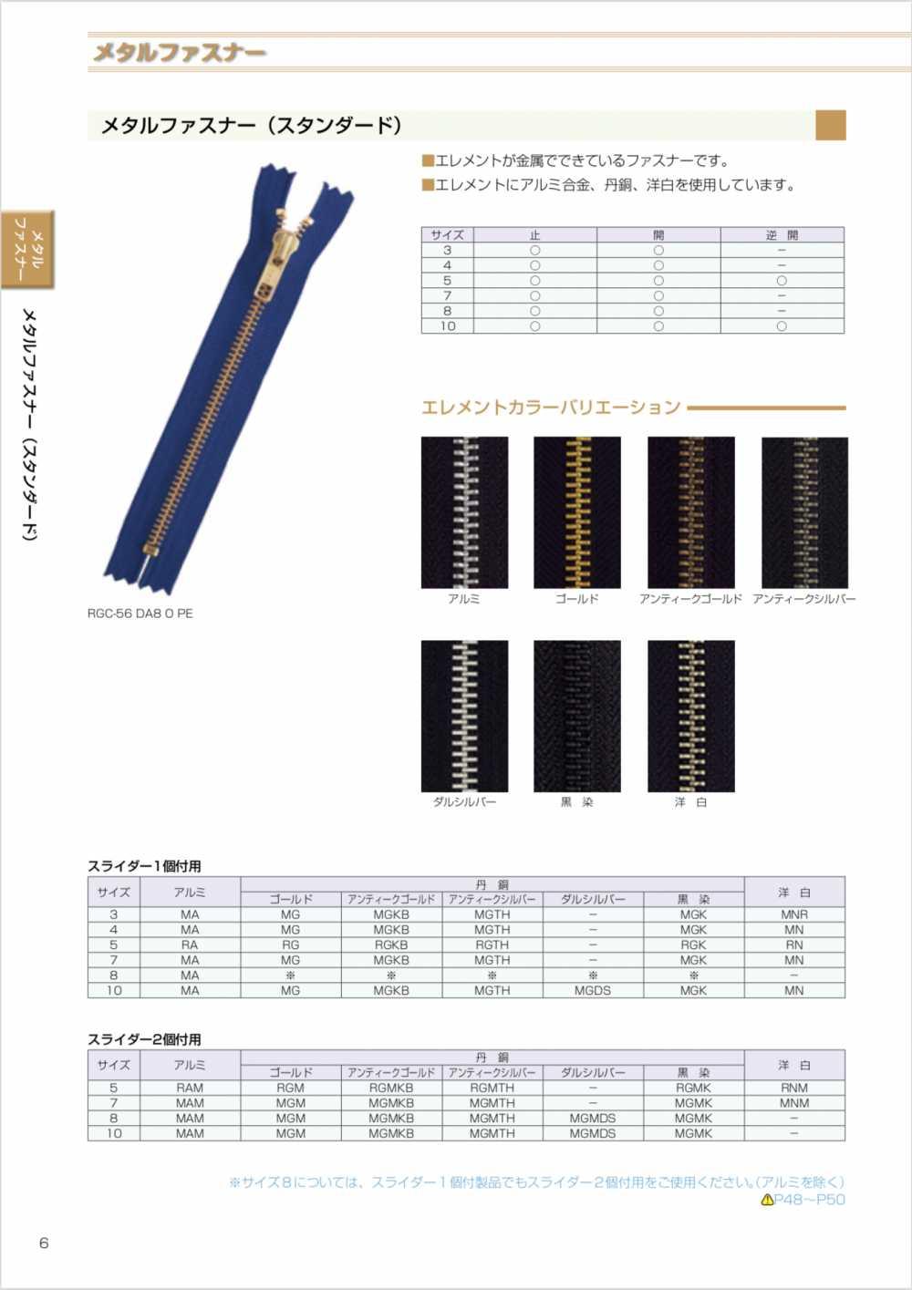 10MGC YKKメタルファスナー 10サイズ ゴールド 止め YKK/オークラ商事 - ApparelX アパレル資材卸通販