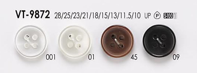 VT-9872 貝調 シャツ・ブラウス用 4つ穴 ポリエステル ボタン アイリス/オークラ商事 - ApparelX アパレル資材卸通販