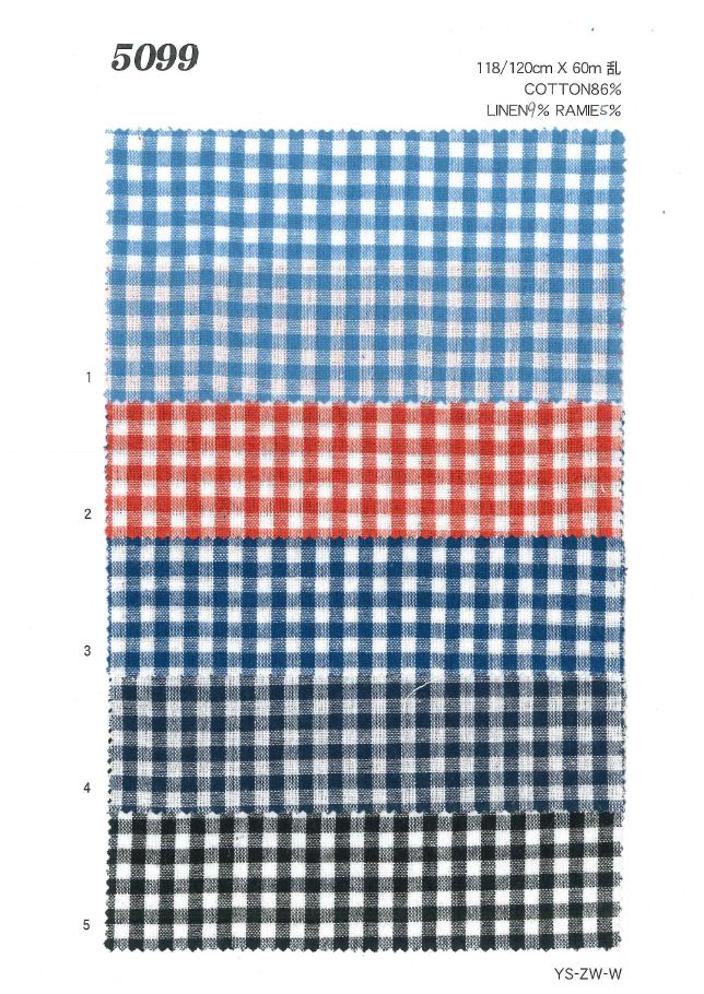 MU5099 綿麻ギンガムチェック[生地] 植山織物/オークラ商事 - ApparelX アパレル資材卸通販