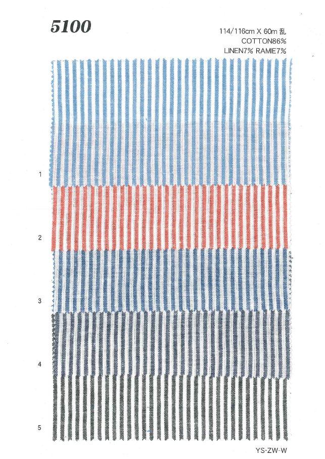 MU5100 綿麻ストライプ[生地] 植山織物/オークラ商事 - ApparelX アパレル資材卸通販