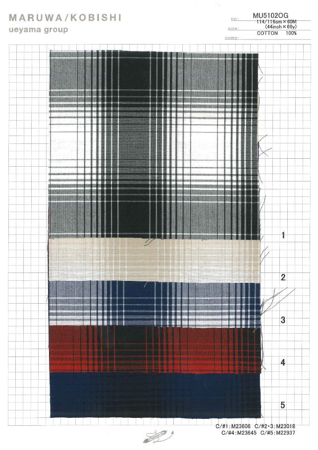 MU5102OG タイプライターオンブレーチェック[生地] 植山織物/オークラ商事 - ApparelX アパレル資材卸通販