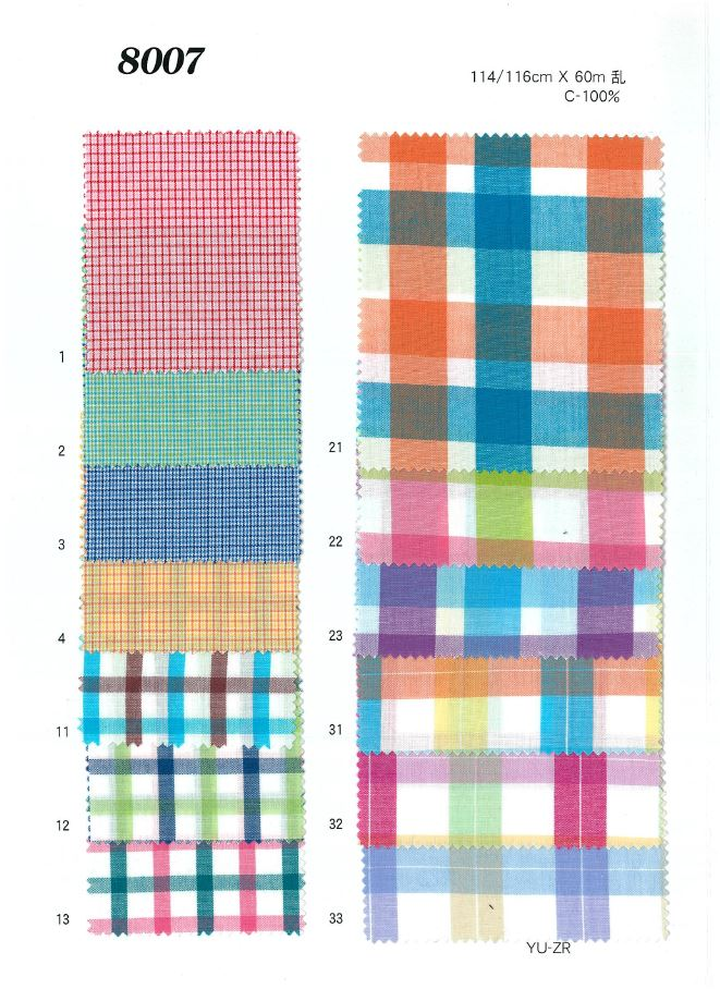 8007 チェックワッシャー[生地] 植山織物/オークラ商事 - ApparelX アパレル資材卸通販