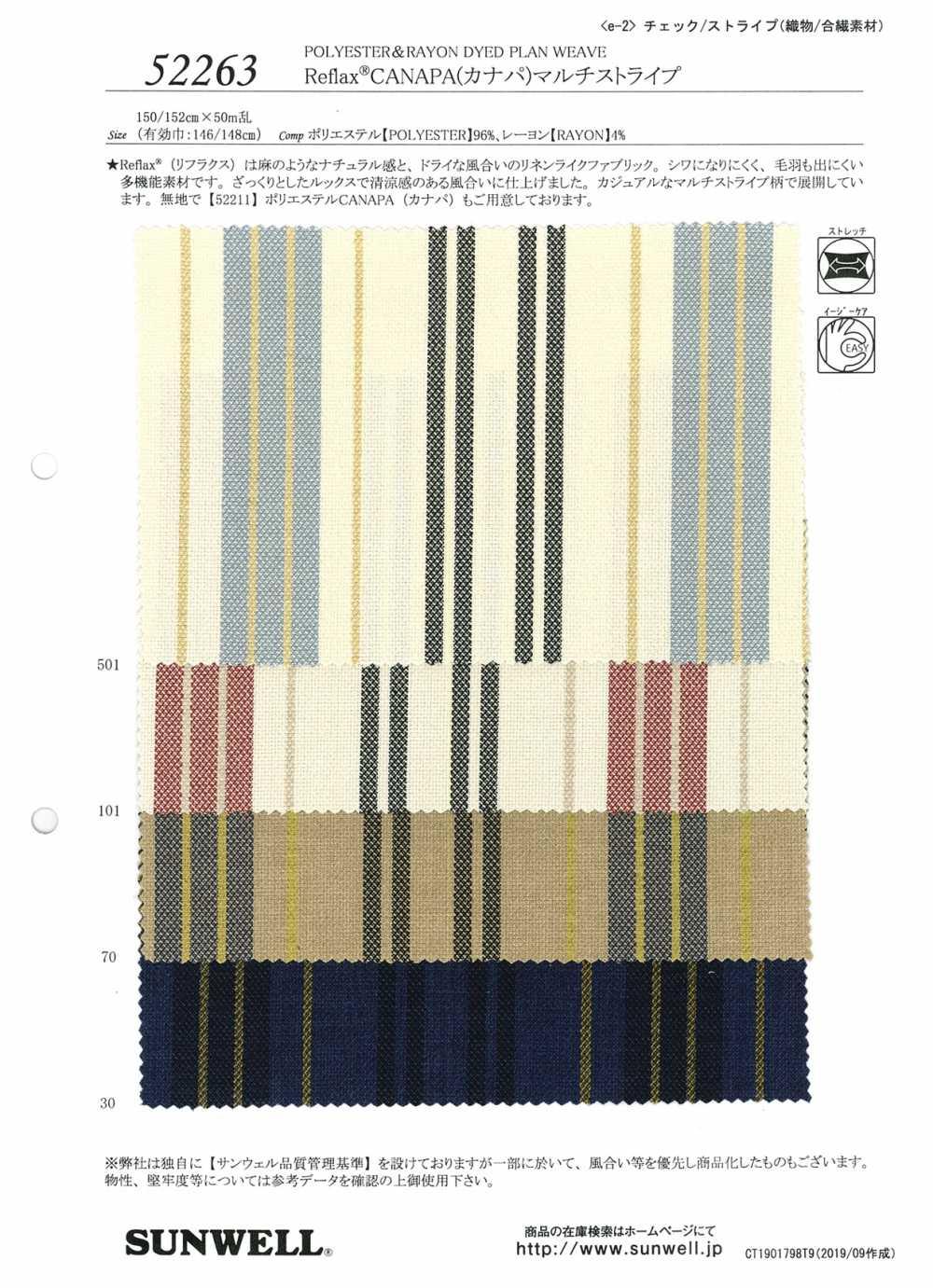 52263 Reflax®CANAPA(カナパ)マルチストライプ[生地] SUNWELL(サンウェル)/オークラ商事 - ApparelX アパレル資材卸通販