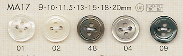 MA17 DAIYA BUTTONS 貝調ポリエステルボタン 大阪プラスチック工業(DAIYA BUTTON)/オークラ商事 - ApparelX アパレル資材卸通販