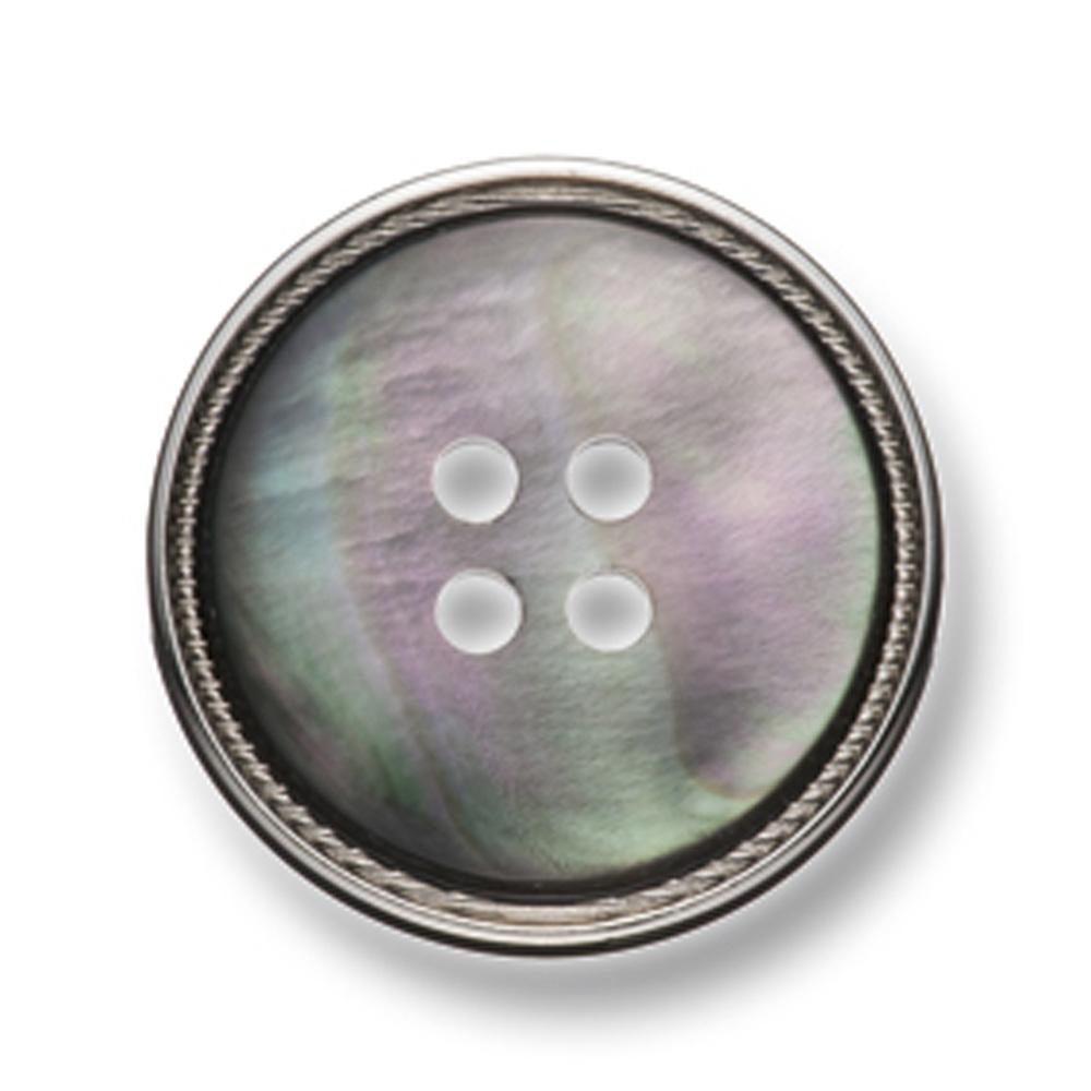 128 スーツ・ジャケット用メタルボタン 貝&真鍮 シルバー ヤマモト(EXCY)/ヤマモト - ApparelX アパレル資材卸通販