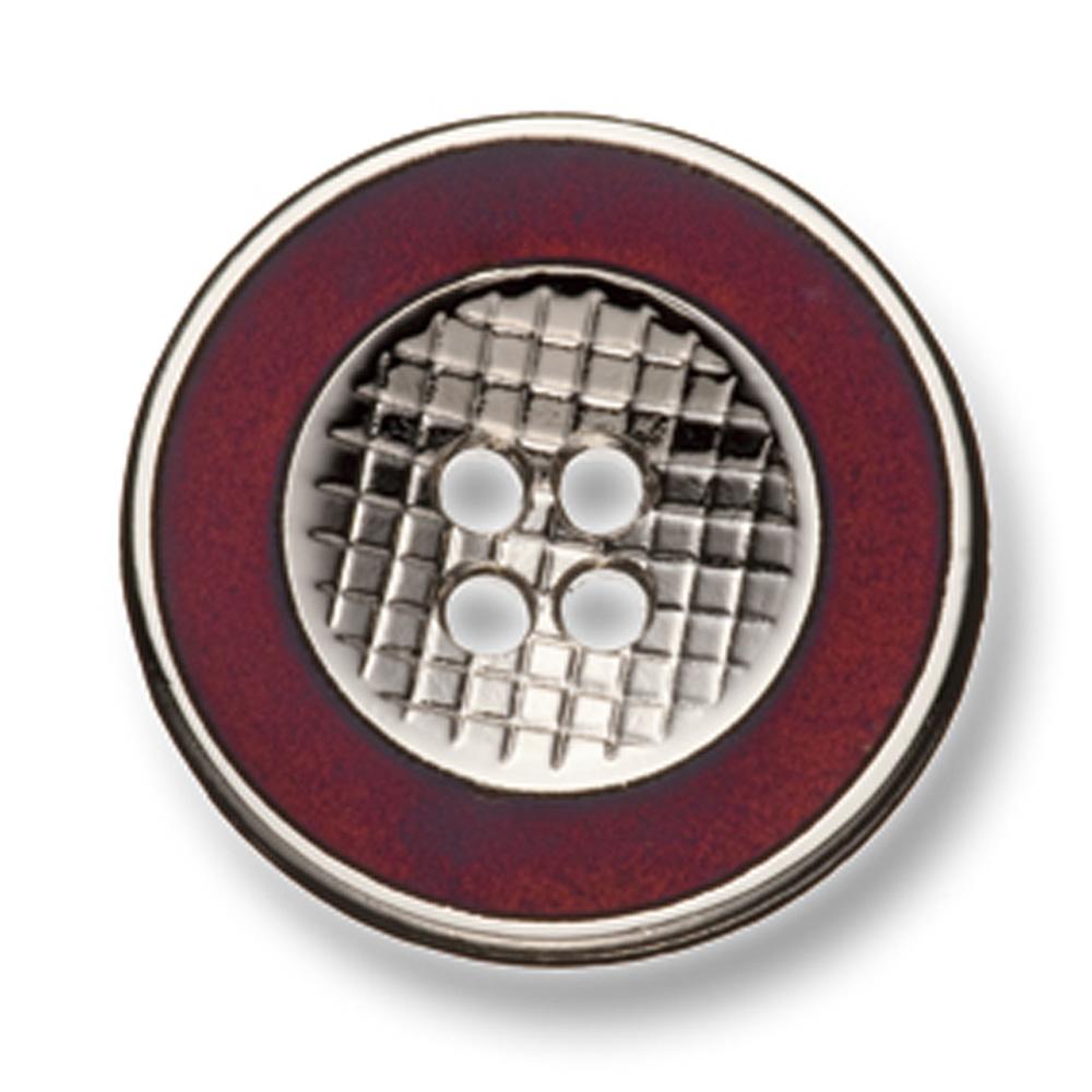 332 国産 スーツ・ジャケット用メタルボタン シルバー/レッド ヤマモト(EXCY)/ヤマモト - ApparelX アパレル資材卸通販