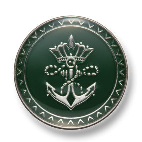 EX260 国産 スーツ・ジャケット用メタルボタン シルバー/緑 ヤマモト(EXCY)/ヤマモト - ApparelX アパレル資材卸通販